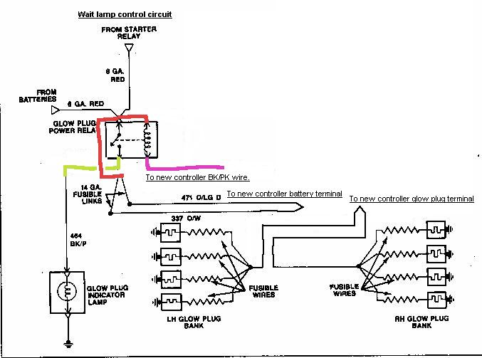 glow2_2 ford diesel 6 9 7 3 idi Ford 3 Wire Alternator Diagram at bayanpartner.co